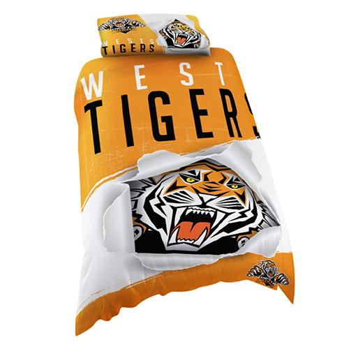 NRL Official Wests Tigers Supporter Quilt Cover Set-Single Bed