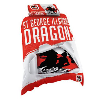 NRL Official St George Illawarra Dragons Supporter Quilt Cover Set-Single Bed