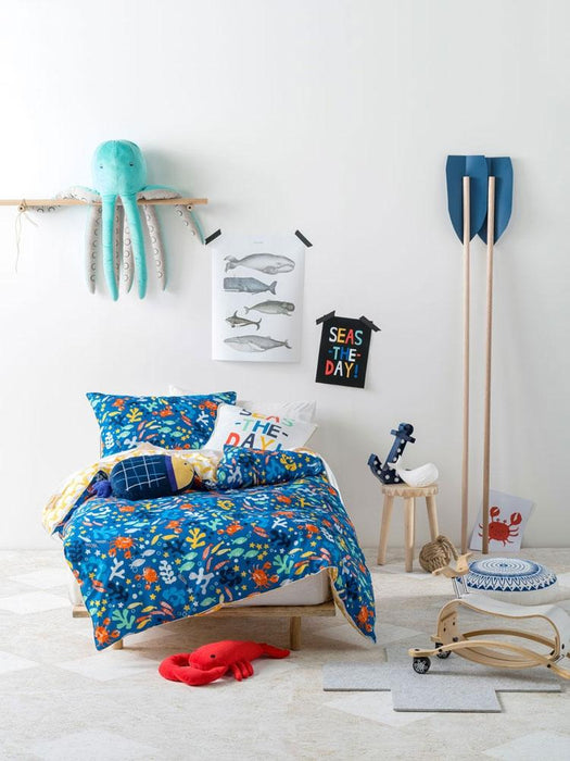 Hiccups Rockpool Blue Quilt Cover Set