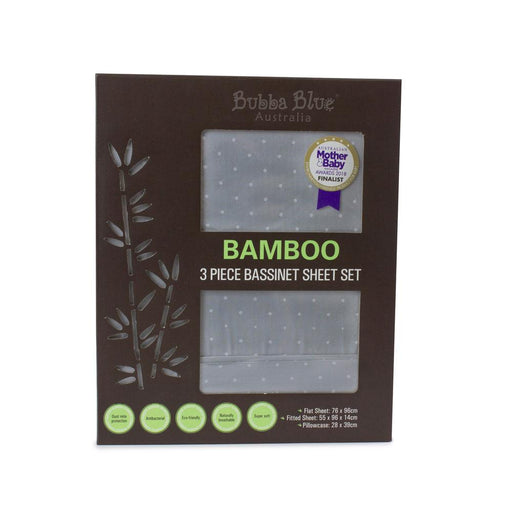 Bubba Blue Bamboo Grey 3 Piece Bassinet Sheet Set