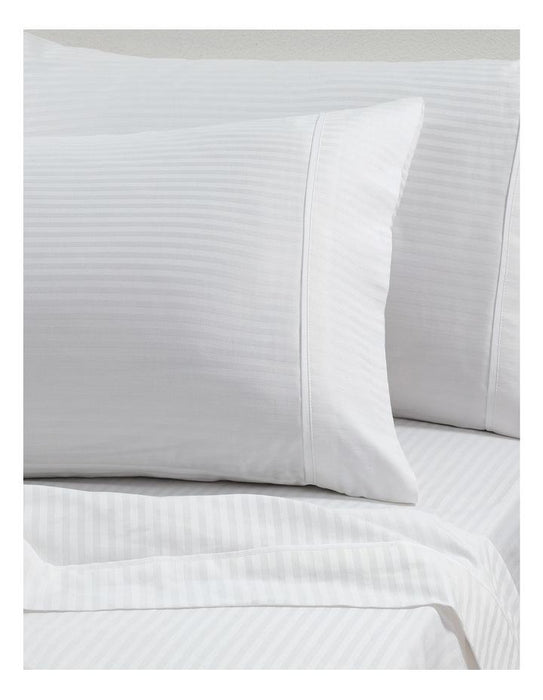 Private Collection Sidney White Striped 100% Cotton Sateen Sheet Set