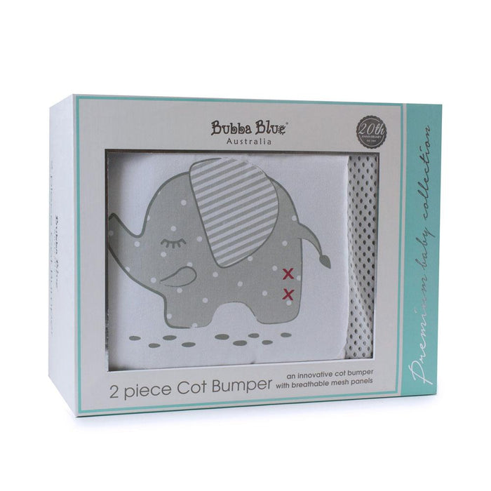 Bubba Blue Embroidered Petit Elephant Cot Bumper