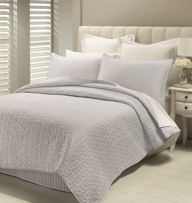 Lux Savoy Quilted Coverlet Set-Pewter