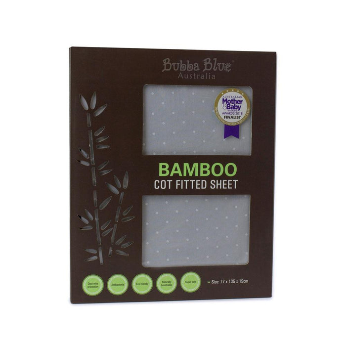 Bubba Blue Bamboo Grey Cot Fitted Sheet