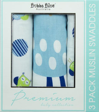 Bubba Blue Baby Owl Boy 3 pack Muslin Swaddle Wrap