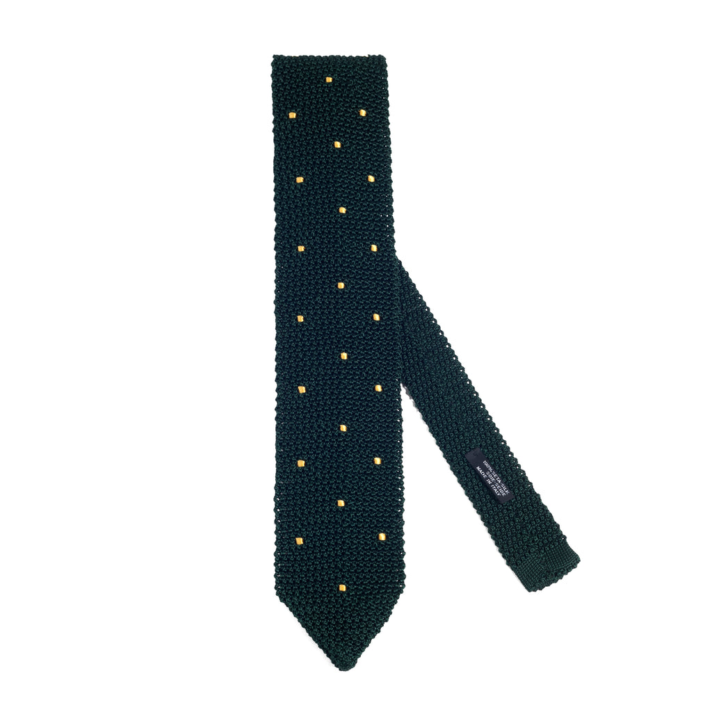 Silk Knit Tie Green Yellow Polka Dot
