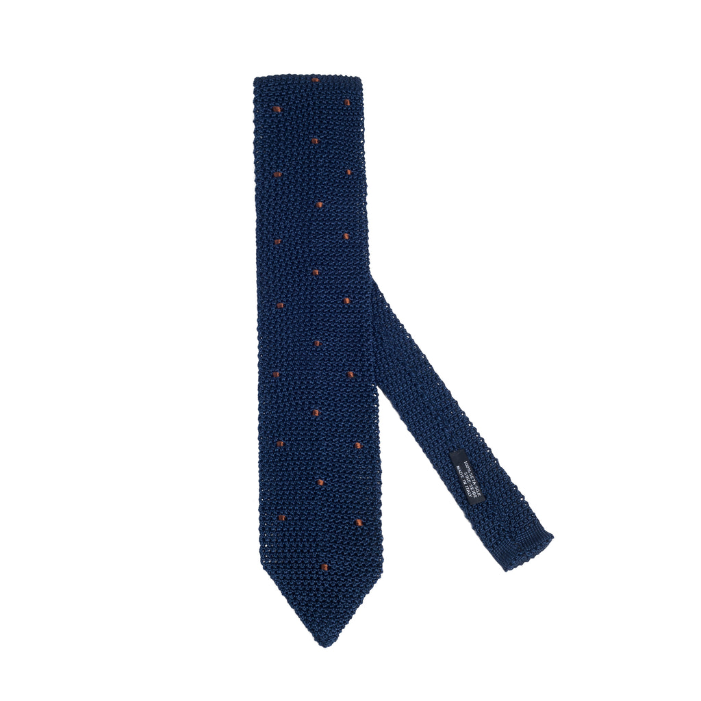 Silk Knit Tie Navy Bronze Polka Dot
