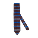 Silk Stripped Knit Tie Brown Silver Skyblue