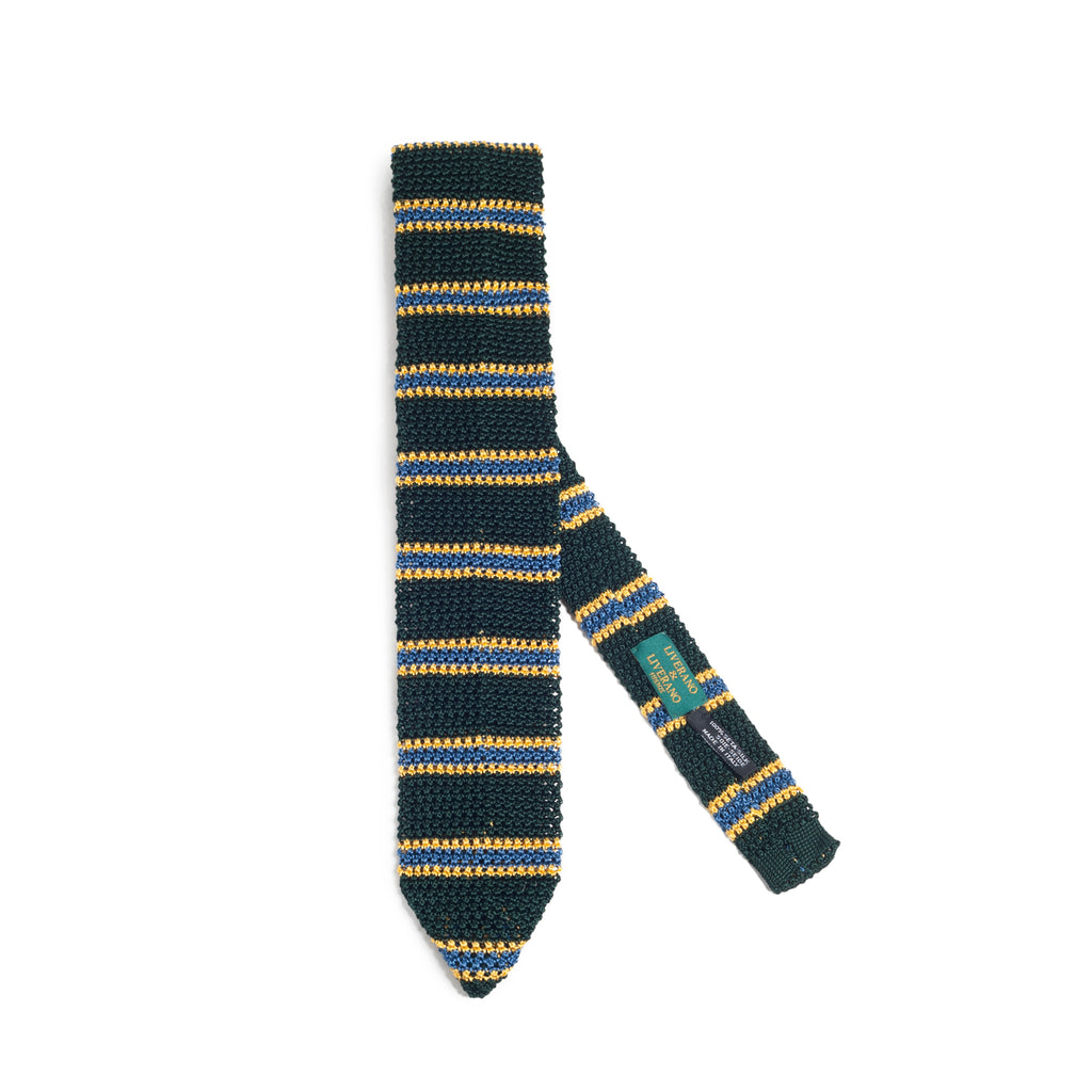 Striped Knit Tie Gree-Gold-Skyblue