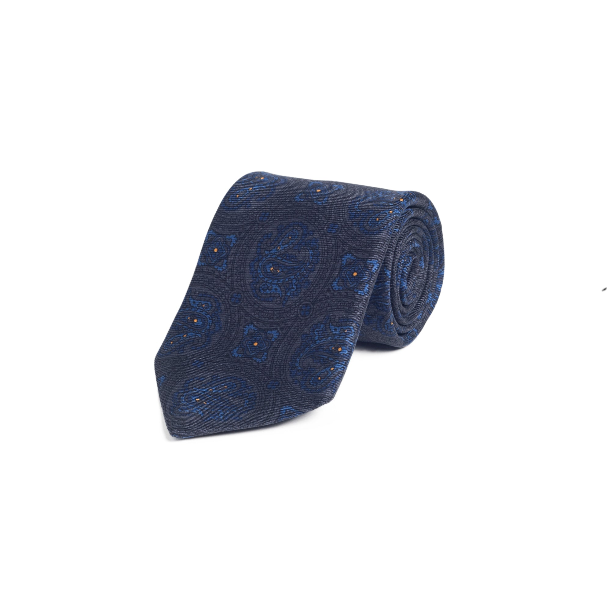 a3dcce7847202 Bronze and Blue Paisley Medallion Print Silk Tie – liverano.com