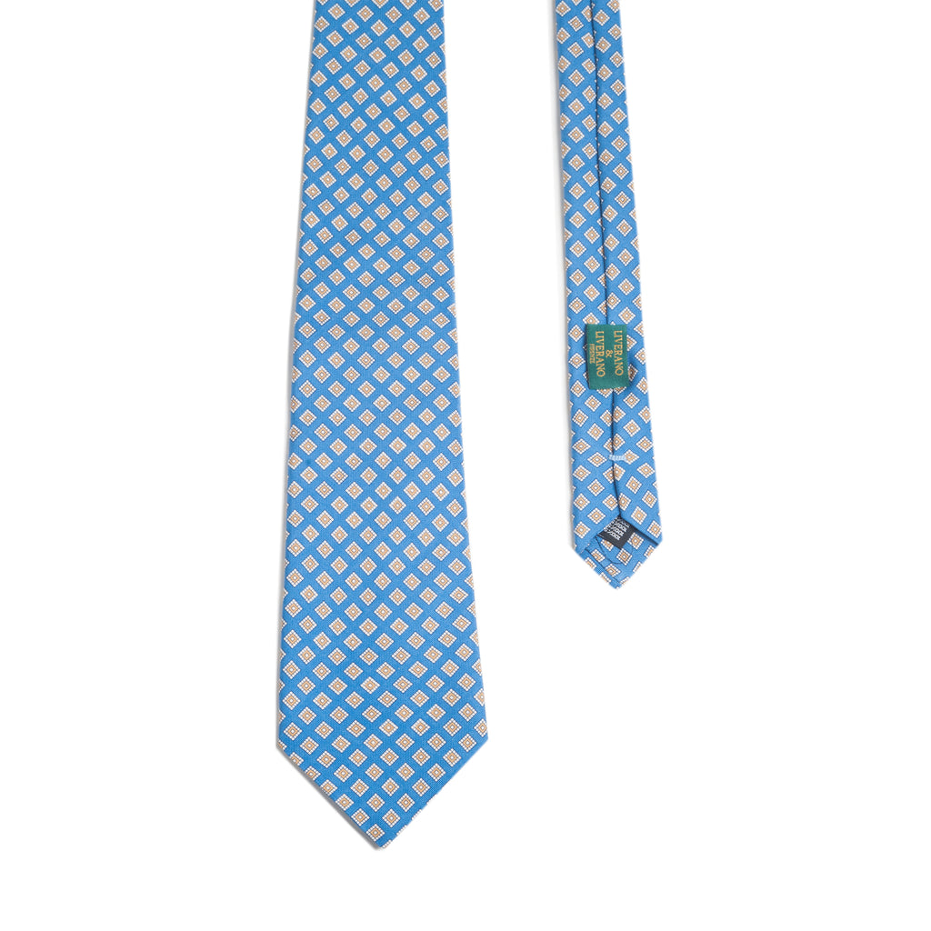 Ligth Blue/Gold  Diamonds Print Silk Tie