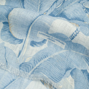 Linen Scarf Azure/White Leaves