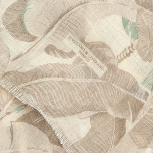 Linen Scarf  Beige/White Leaves