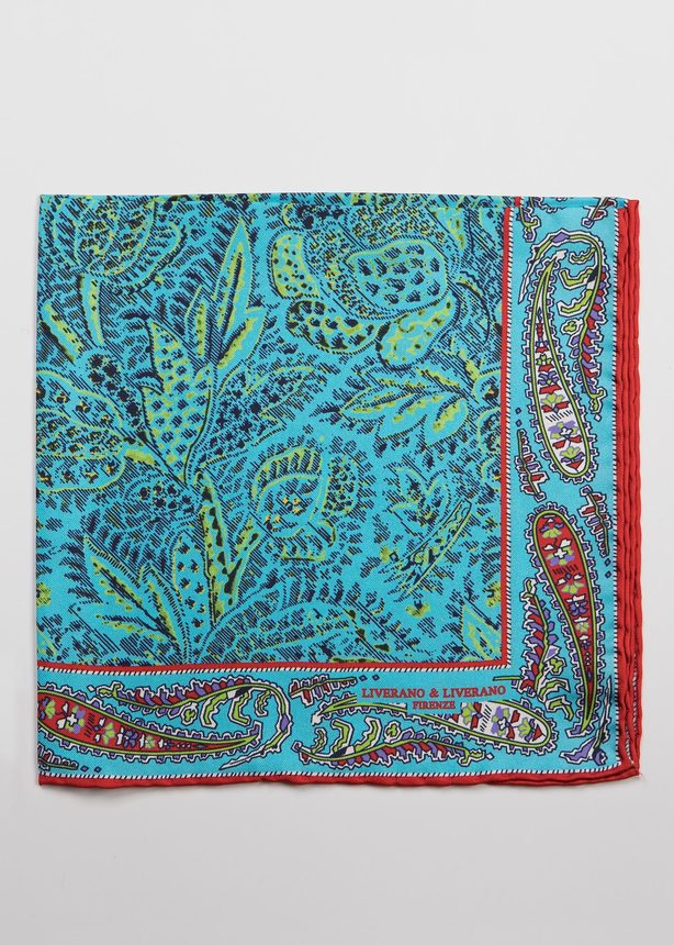 Turquoise & Red Paisley Pocket Square