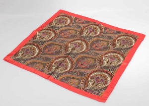 Brown & Red Paisley Pocket Square