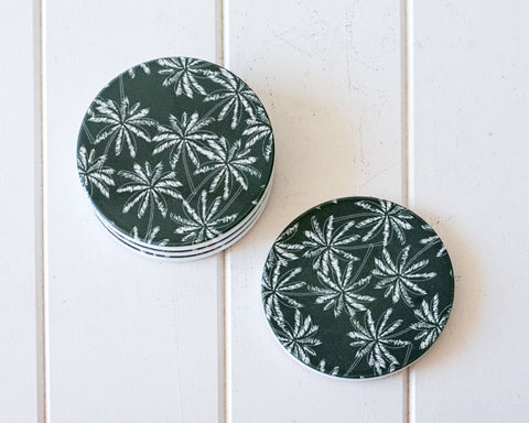 White On Green Palms Coasters
