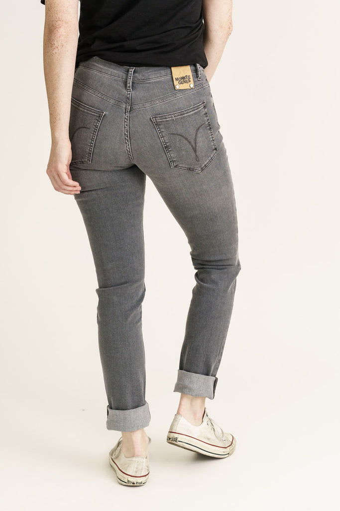 Light Grey Stream Organic Flex Denim Classic Skinny Jeans - Monkee Genes Organic Jeans Denim - Women's Classic Skinny Monkee Genes Official  Monkee Genes Official