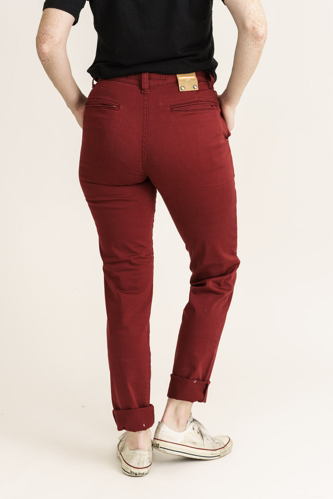 CHINO // Organic Sateen Chino in Wine - Monkee Genes Organic Jeans Denim - Women's Chinos Monkee Genes Official  Monkee Genes Official