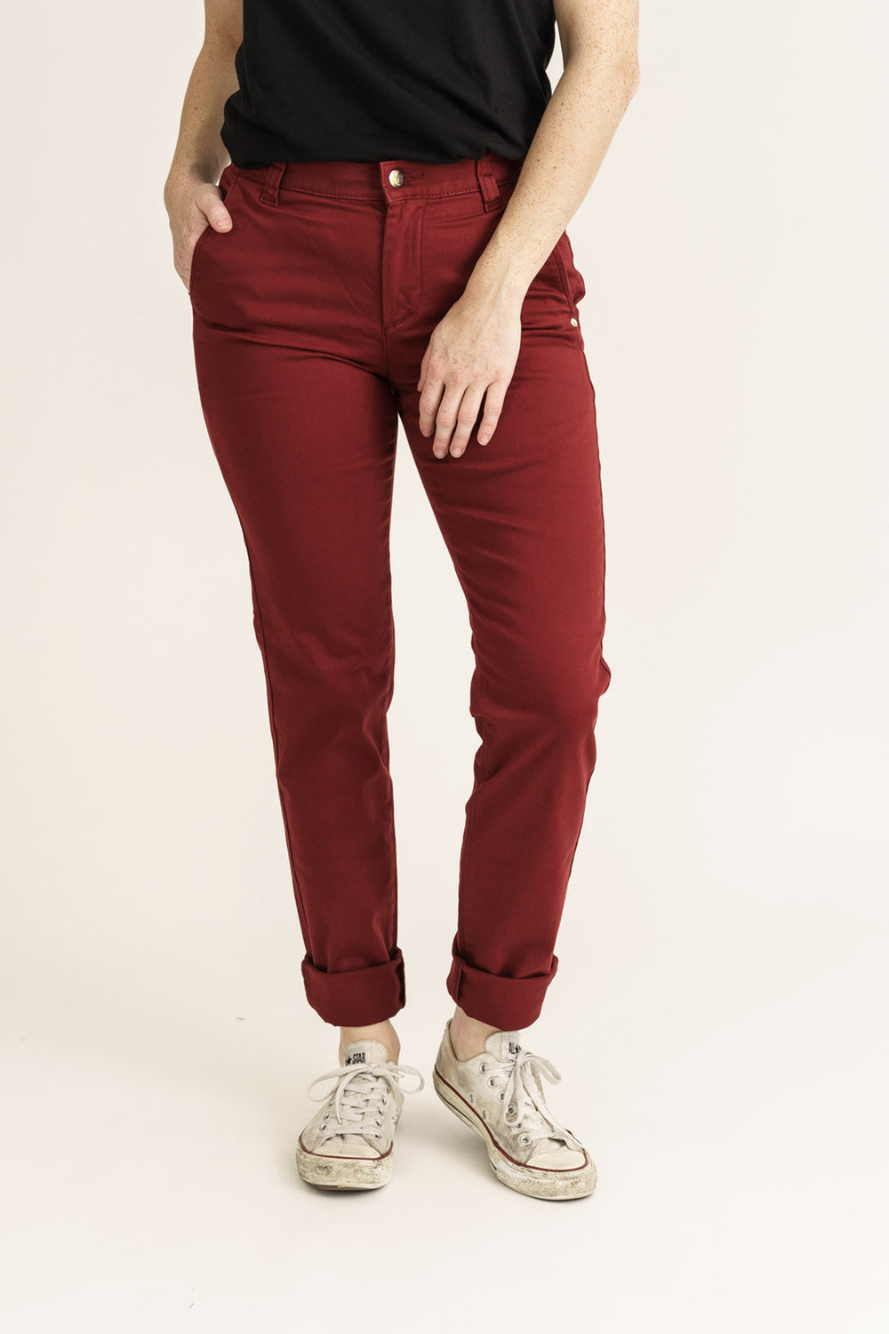 Women's Wine Tapered Fit Organic Sateen Chino - Monkee Genes Organic Jeans