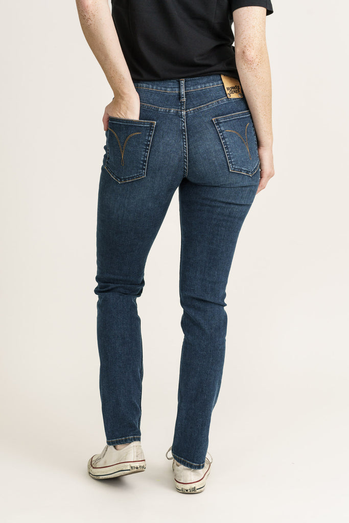 Blue Pilot Service Organic Flex Denim Classic Skinny Jeans - Monkee Genes Organic Jeans Denim - Organic Flex Women's Jeans Monkee Genes Official  Monkee Genes Official