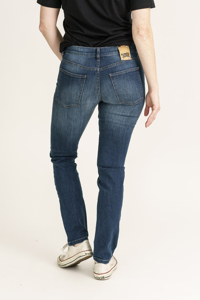 Superfly Dark Denim Classic Skinny Fit Organic Jeans - Monkee Genes Organic Jeans Denim - Women's Classic Skinny Monkee Genes Official  Monkee Genes Official