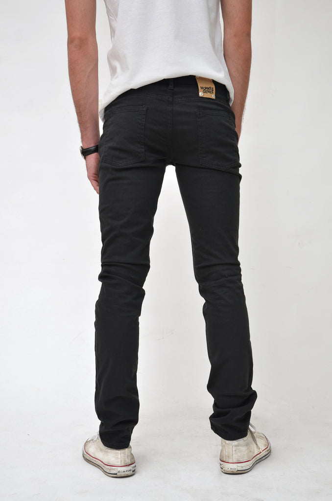 CLASSIC SKINNY // Organic Classic Skinny Jeans in Black Sateen - Monkee Genes Organic Jeans Denim - Men's Classic Skinny Monkee Genes Official  Monkee Genes Official