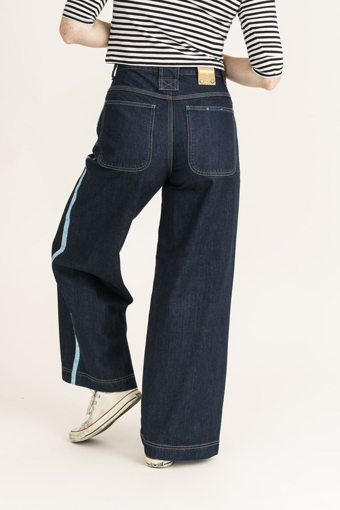 Organic Wide Fit Skate Jeans in Rinse Wash with Tape - Monkee Genes, Organic Jeans, Eco Jeans, Sustainable Jeans, Green Jeans, Ethical Fashion, Mens Chinos
