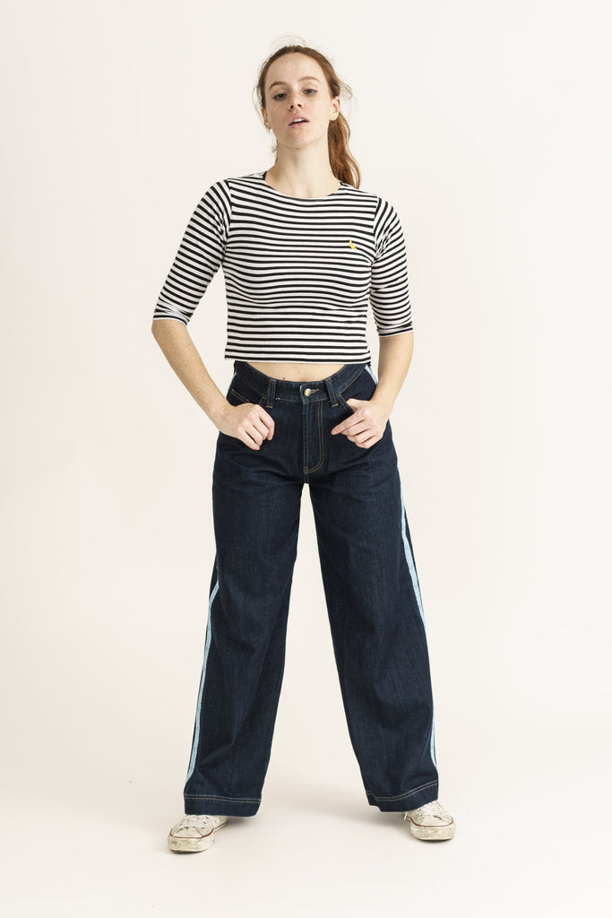 Wide Fit Jeans in Organic Rinse Wash Denim with Tape - Monkee Genes Organic Jeans Denim - Women's Wide Fit Monkee Genes Official  Monkee Genes Official