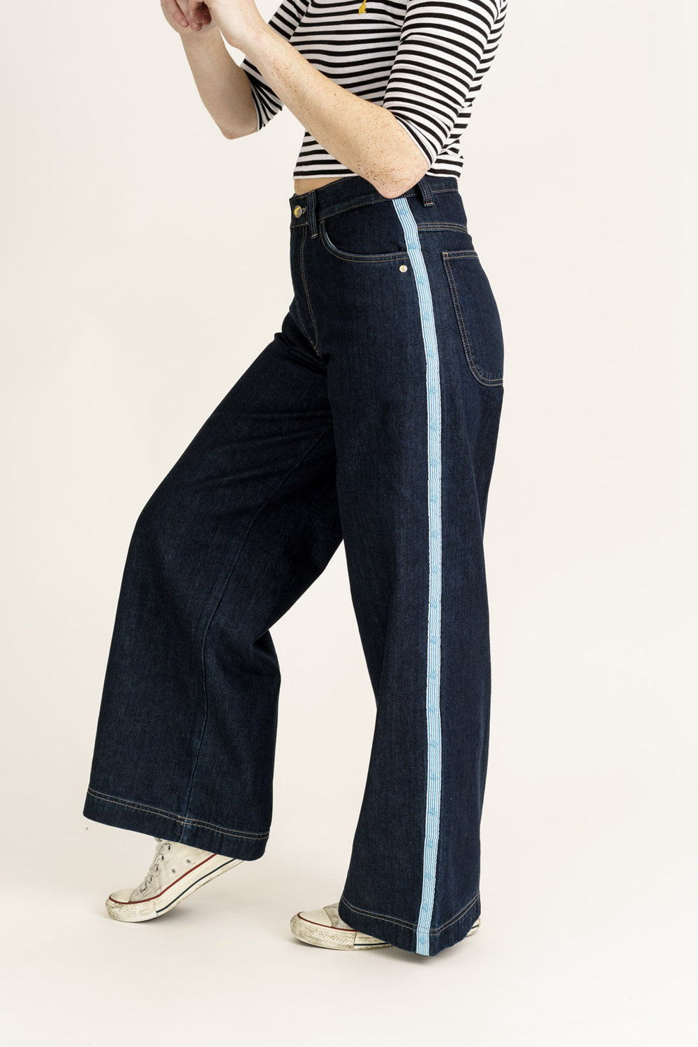 WIDE LEG // Organic Wide Leg Jeans in Rinse Wash with Tape - Monkee Genes Organic Jeans Denim - Women's Wide Fit Monkee Genes Official  Monkee Genes Official