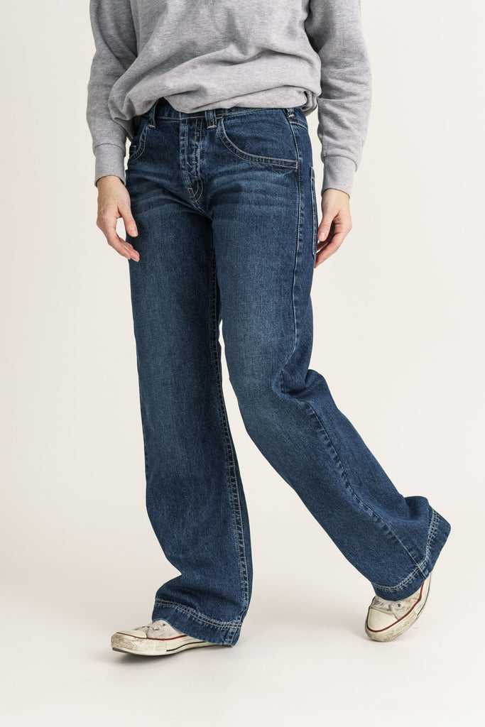 SLOUCH // Organic Loose Fit Jean in Dark Vintage Wash - Monkee Genes Organic Jeans Denim - Women's Wide Fit Monkee Genes Official  Monkee Genes Official
