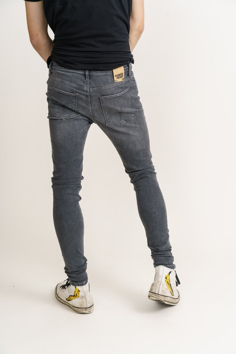 CODY // Organic Flex Super Skinny Mid Rise Jean in Grey Wash