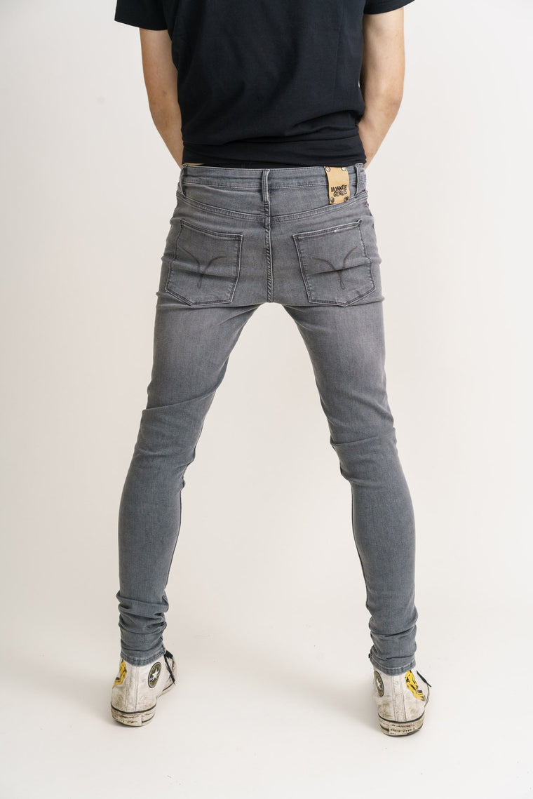 CODY // Organic Flex Super Skinny Mid Rise Jeans in Light Grey Wash