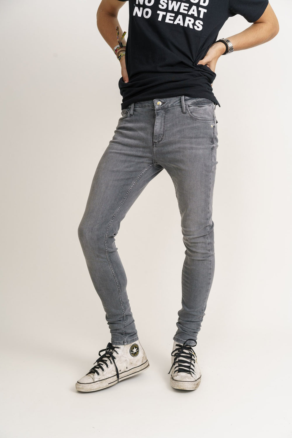 Organic Flex Super Skinny Jeans in Light Grey Wash - Monkee Genes, Organic Jeans, Eco Jeans, Sustainable Jeans, Green Jeans, Ethical Fashion, Mens Chinos