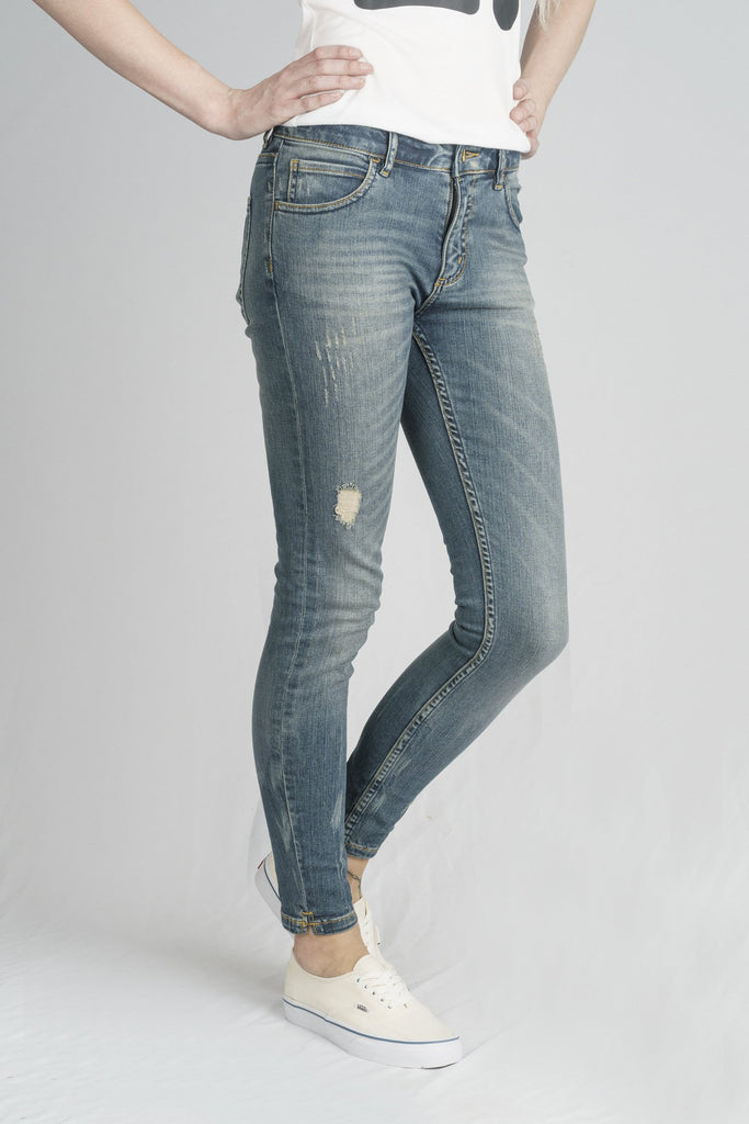 MONROE // Organic Super Skinny Ankle Grazer in Distressed Denim - Monkee Genes Organic Jeans Denim - Women's Monroe Monkee Genes Official  Monkee Genes Official