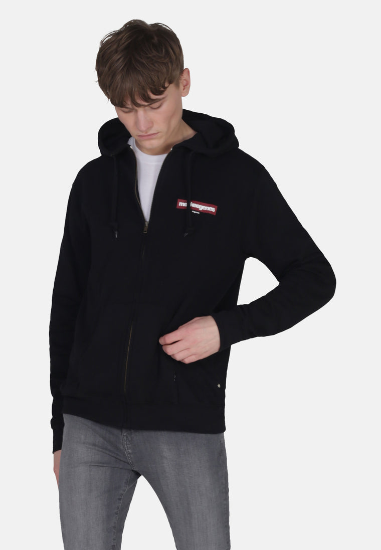 Men's Organic Cotton Zip Up Hoody in Black