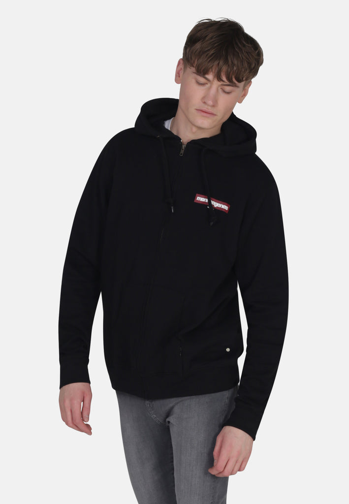 Men's Organic Cotton Zip Up Hoody in Black - Monkee Genes Organic Jeans Denim - Men's Hoodies Monkee Genes Official  Monkee Genes Official