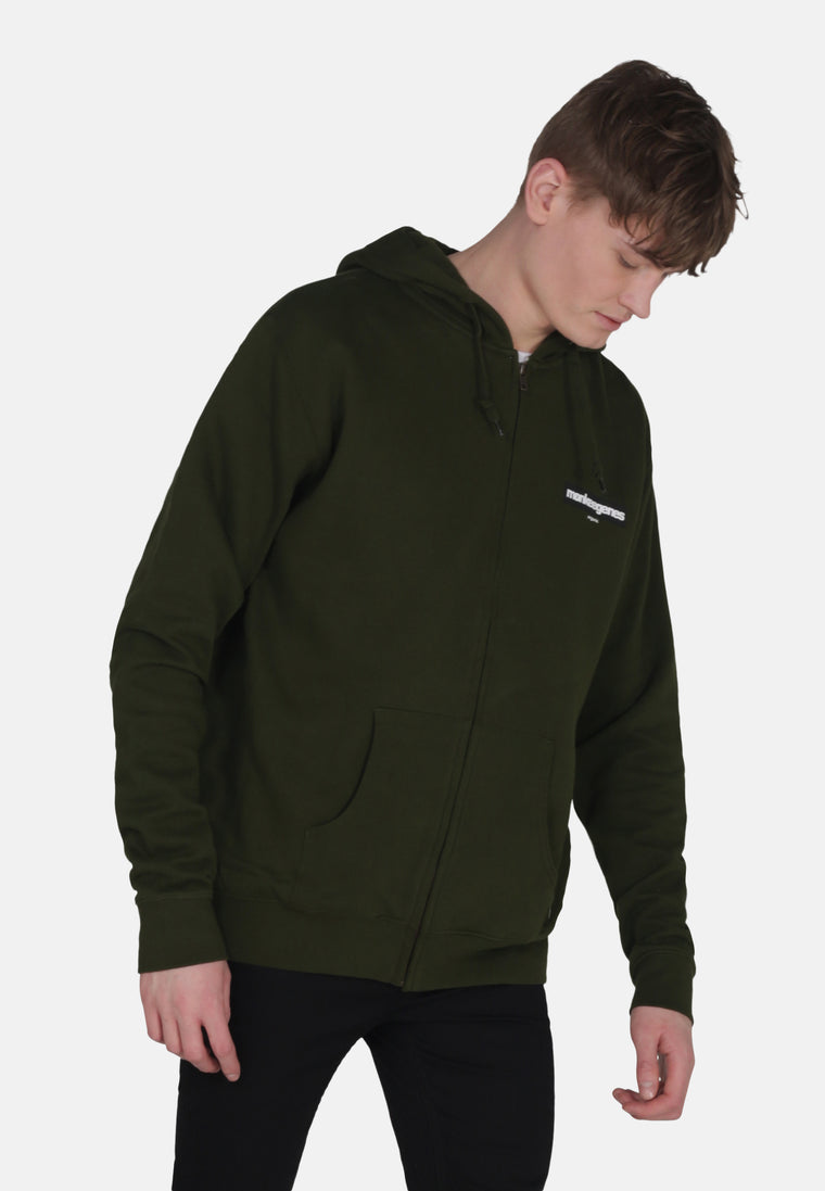 Men's Organic Cotton Oversized Zip Up Hoody - Olive