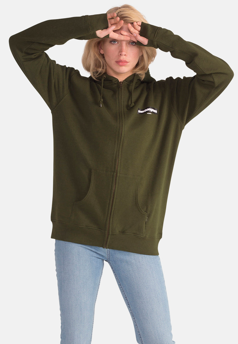 Women's Organic Cotton Oversized Olive Ziphood