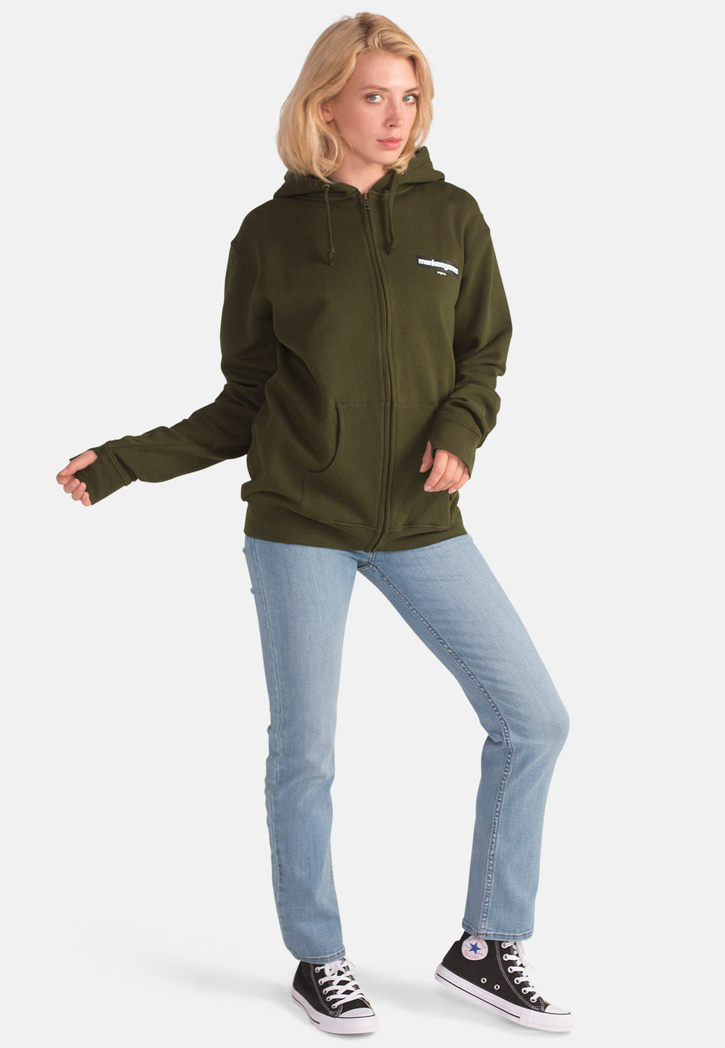 Women's Organic Cotton Oversized Olive Ziphood - Monkee Genes Organic Jeans Denim - Women's Hoodie Monkee Genes Official  Monkee Genes Official