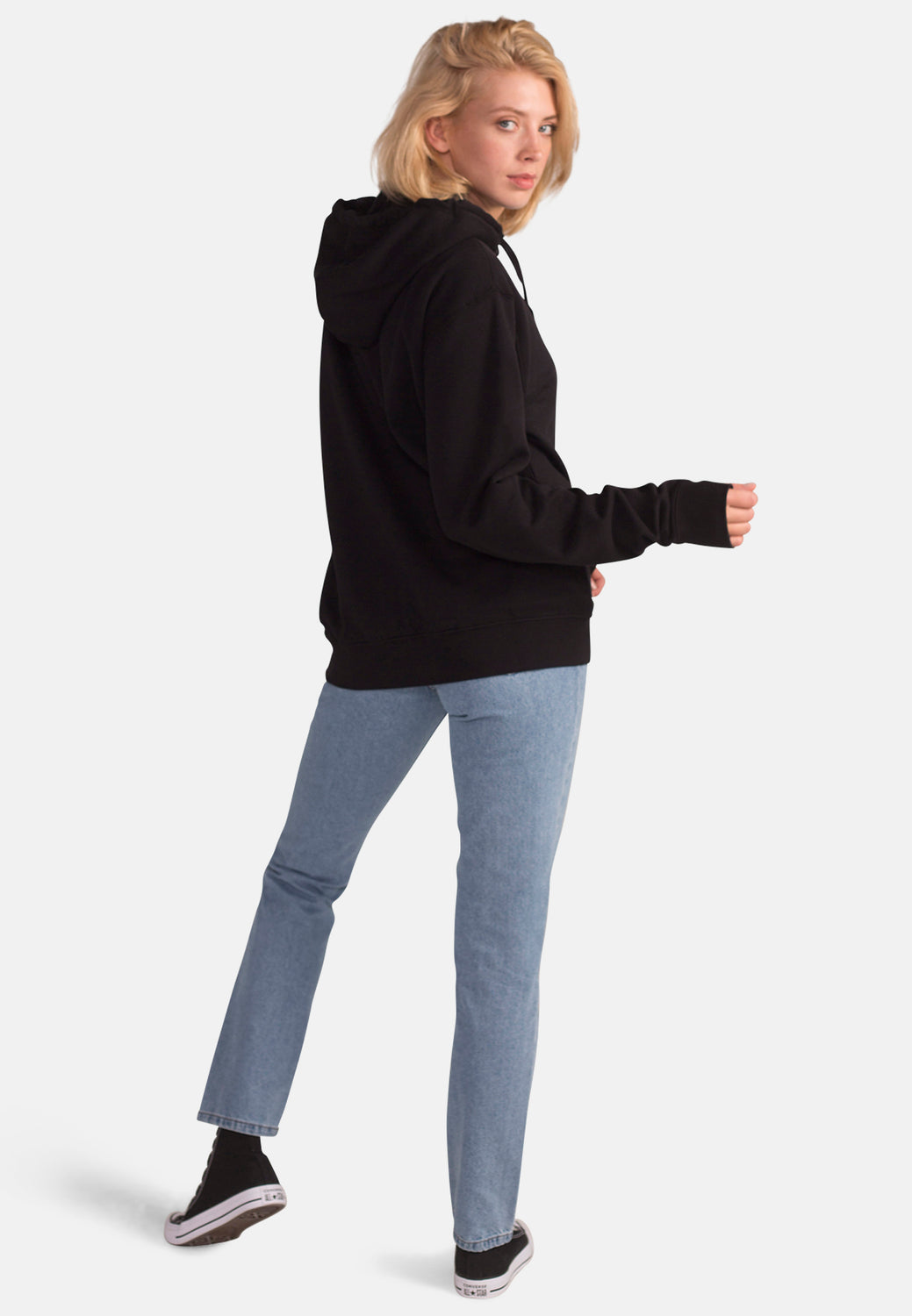 Women's Organic Cotton Oversized Black Ziphood - Monkee Genes Organic Jeans Denim - Women's Hoodie Monkee Genes Official  Monkee Genes Official