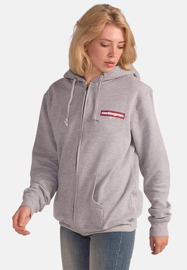 Women's Organic Cotton Oversized Grey Zip Up Hoody - Grey