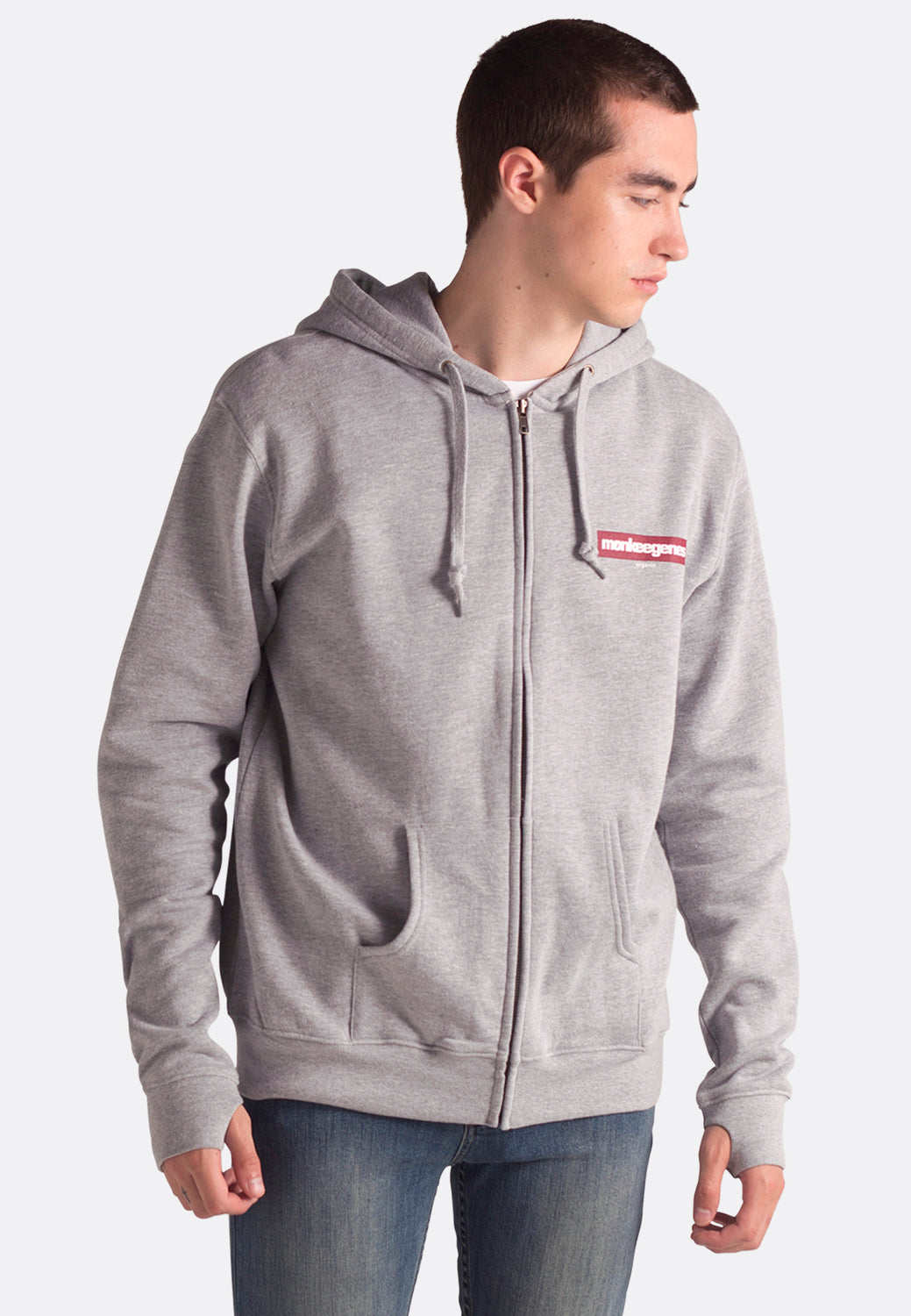 Men's Organic Cotton Zip Up Hoody in Grey - Monkee Genes Organic Jeans Denim - Men's Hoodies Monkee Genes Official  Monkee Genes Official