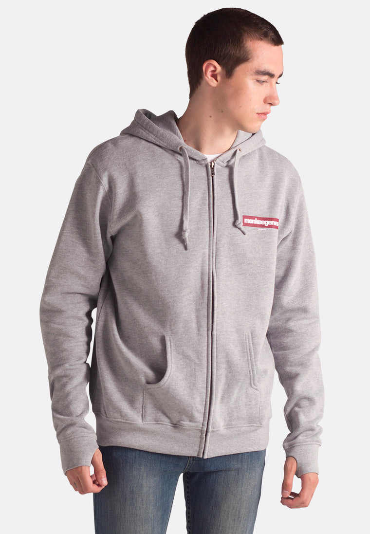 Men's Organic Cotton Zip Up Hoody in Grey