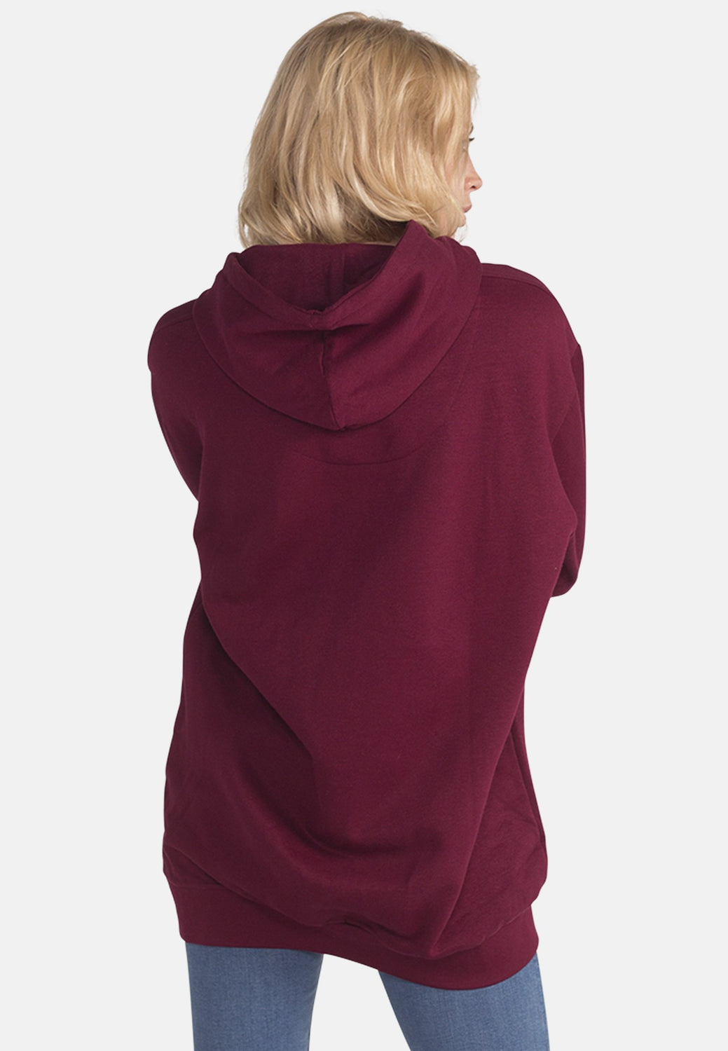 Women's Organic Cotton Hoody in Burgundy - Monkee Genes Organic Jeans Denim - Women's Hoodie Monkee Genes Official  Monkee Genes Official
