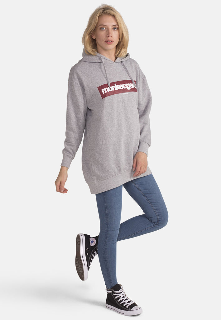 Women's Organic Cotton Hoody in Grey - Monkee Genes Organic Jeans Denim - Women's Hoodie Monkee Genes Official  Monkee Genes Official