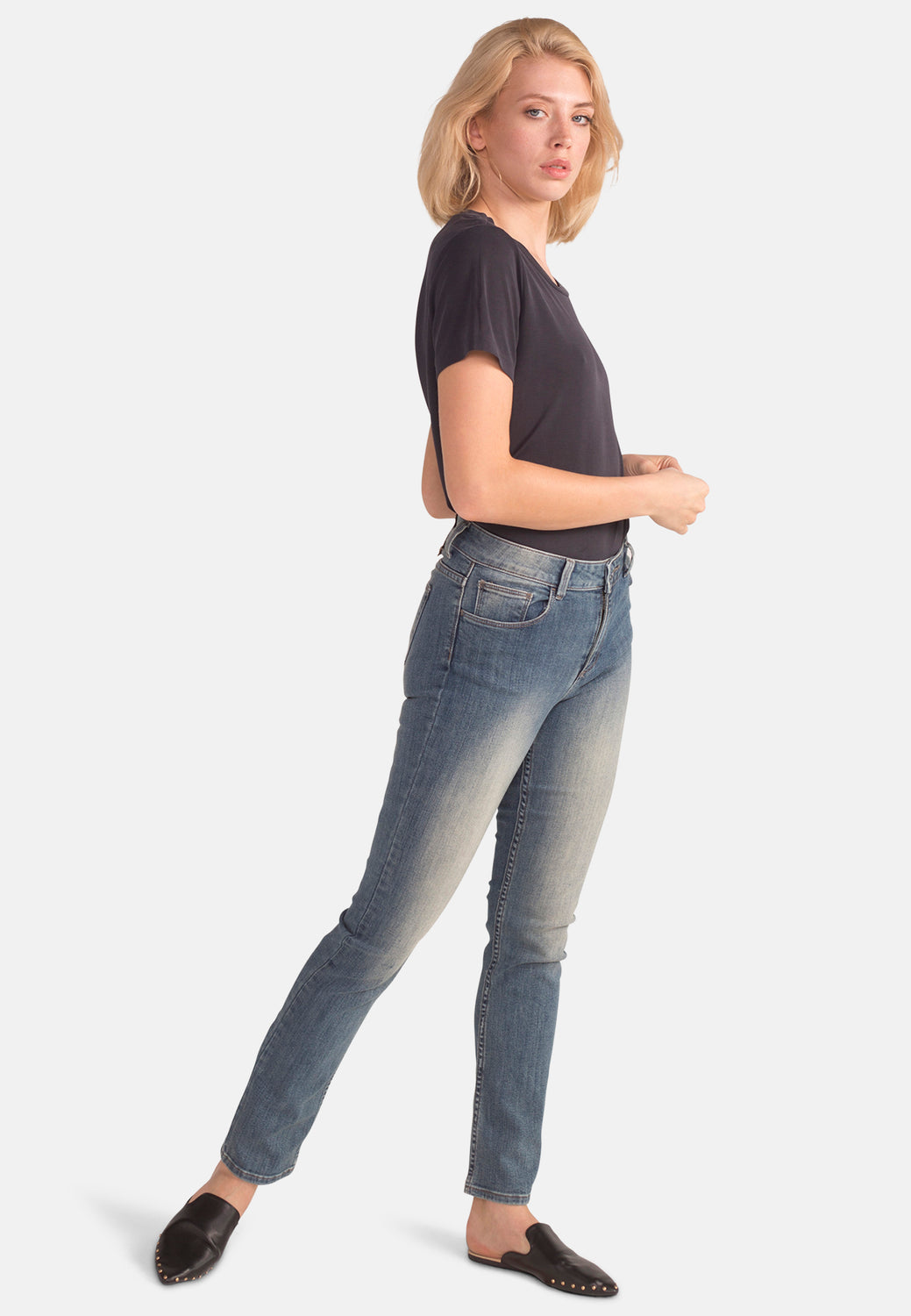 EMILY // Organic Slim Fit Jeans in Mid Wash - Monkee Genes Organic Jeans Denim - Women's Slim Fit Monkee Genes Official  Monkee Genes Official