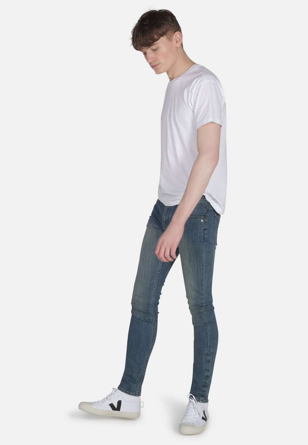 Organic Classic Skinny Jeans In Mid Wash Mens