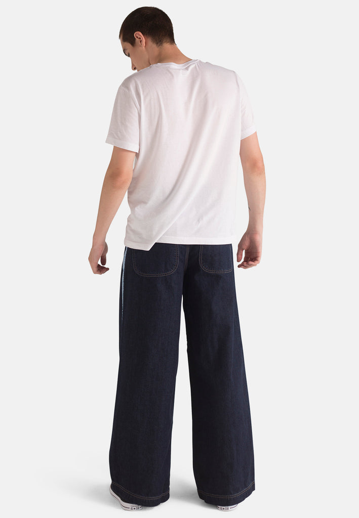 Organic Wide Fit Skate Jeans in Rinse Wash with Tape
