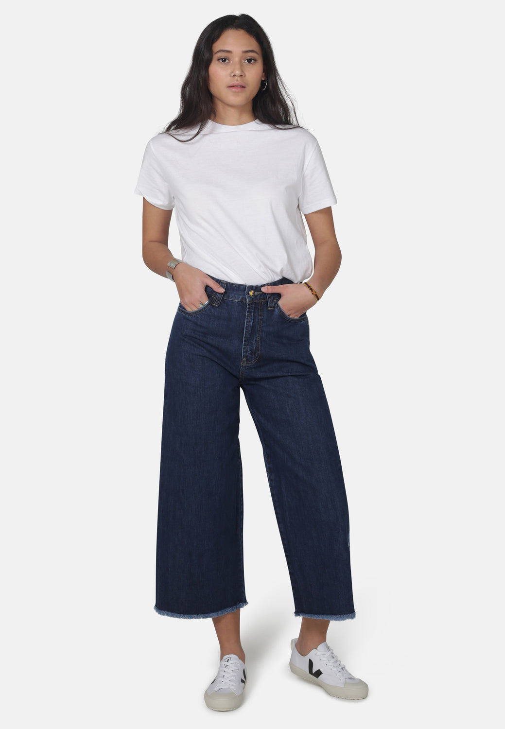 WIDE LEG // Organic Cropped Wide Leg Jeans in Dark Wash with Tape - Monkee Genes Organic Jeans Denim - Women's Cropped Monkee Genes Official  Monkee Genes Official