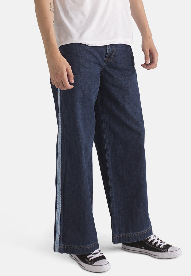 WIDE LEG // Organic Wide Leg Jeans in Dark Wash with Tape